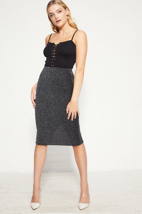 lurex rib jersey pencil skirt  (325142)