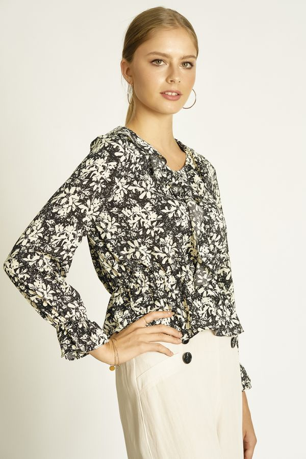 neck frilled floral top  (325160)