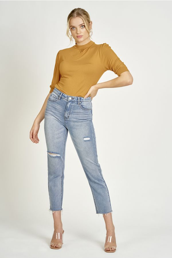 high neck puff sleeve top  (325192)
