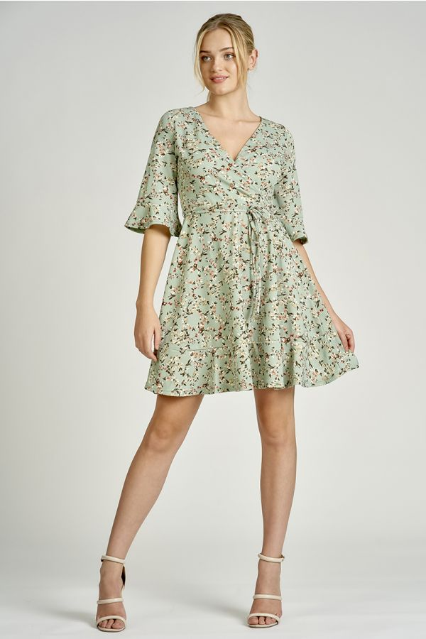 flute sleeve fit & flare dress  (325280)
