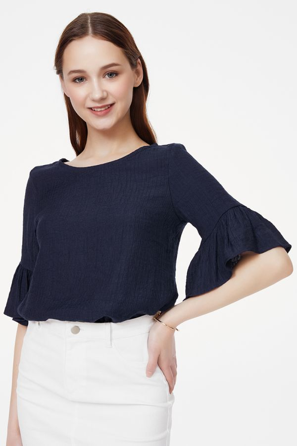 Ruffle sleeve linen-like top  (325287)