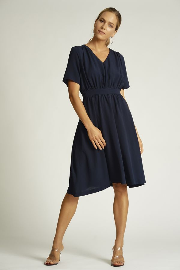 V neck solid midi dress  (325363)