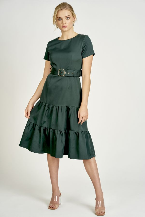 tiered belted midi dress  (325378)