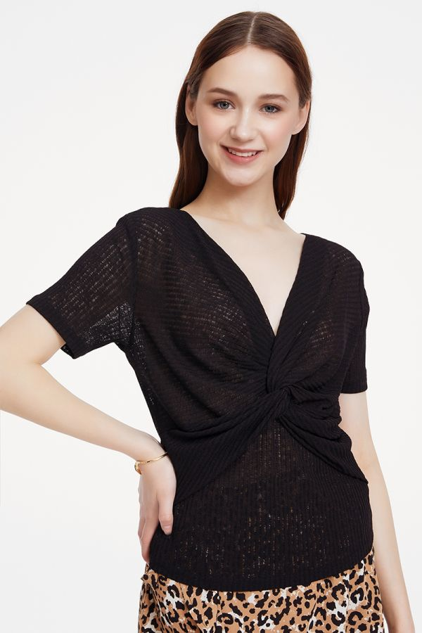 twisted front rib jersey top  (325389)