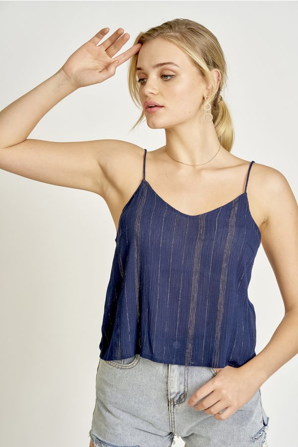lurex stripe singlet top  (325405)