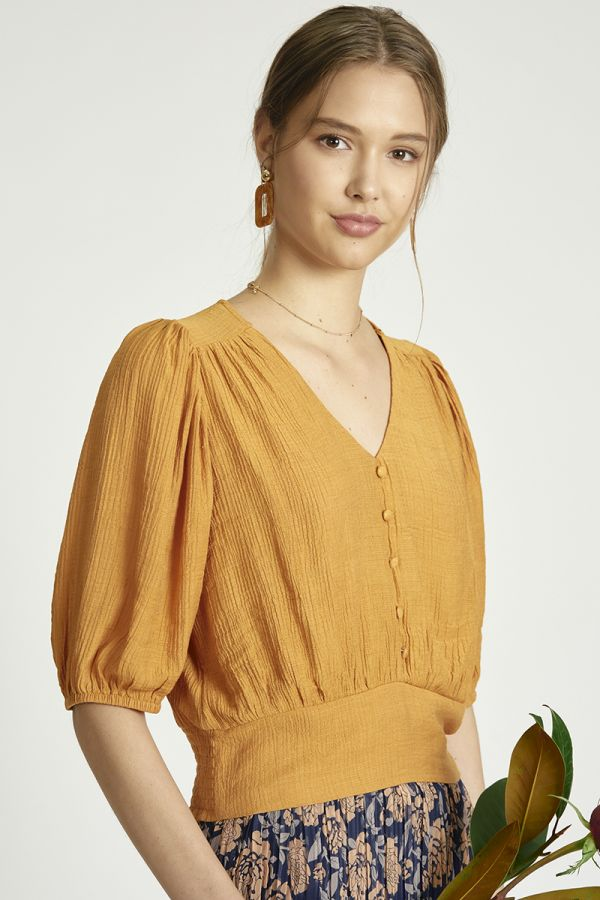 button down puff sleeve top (325409)