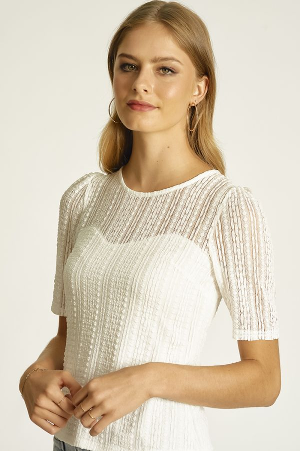 fitted lace half sleeve bodysuit (325484)