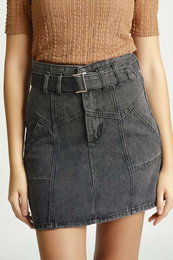 deconstructed denim high waist mini skirt (325748)