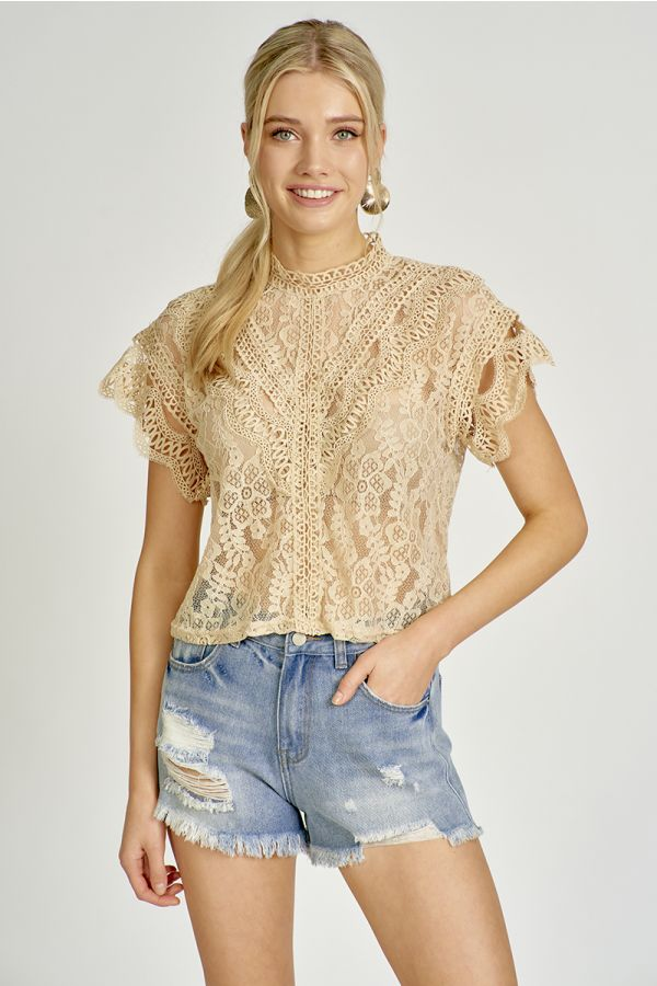 short sleeve lace top  (325756)