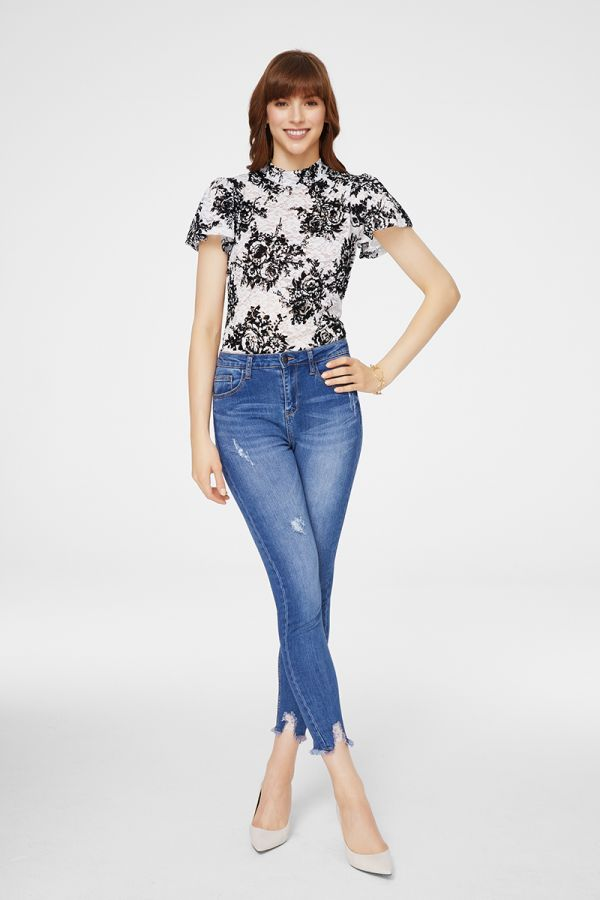 high neck wing sleeve flocking pattern top (326091)